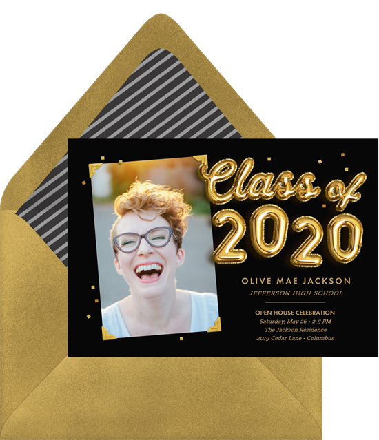 Black online graduation invitations with gold balloon letters