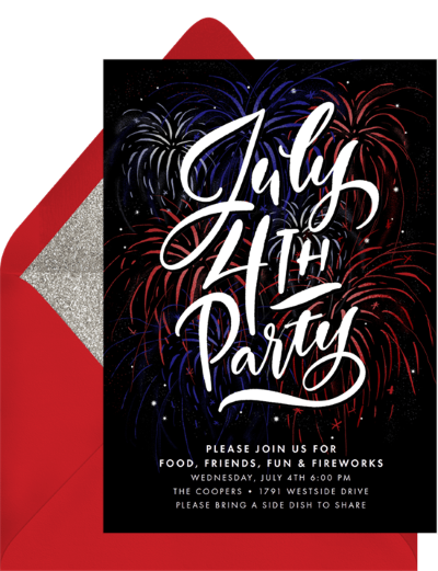 4th of July party invitations: Classic Fireworks Invitation by Greenvelope