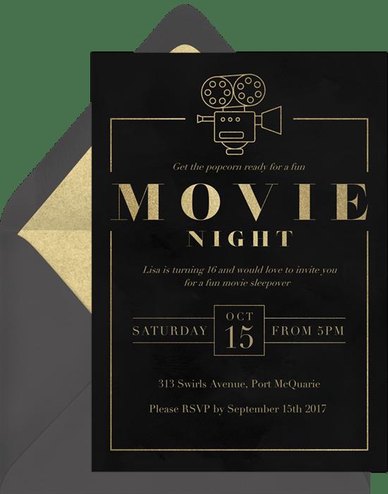 Classic Movie Night Invitation from Greenvelope