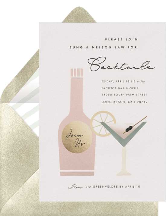 Cocktail party invitation from Greenvelope