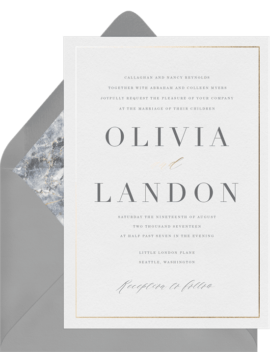 A formal invitation with modern font and a gold-foil border