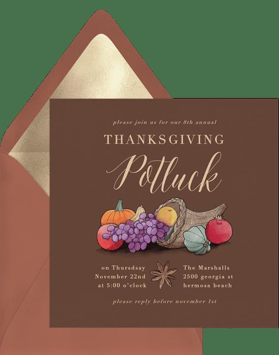 A Thanksgiving invitation with a cornucopia illustration