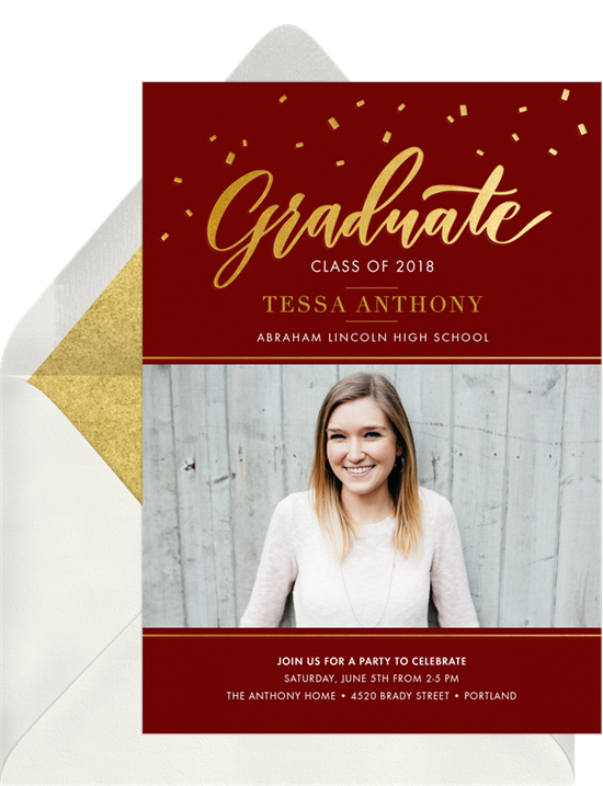 Maroon and gold online graduation invitations with confetti and cursive font