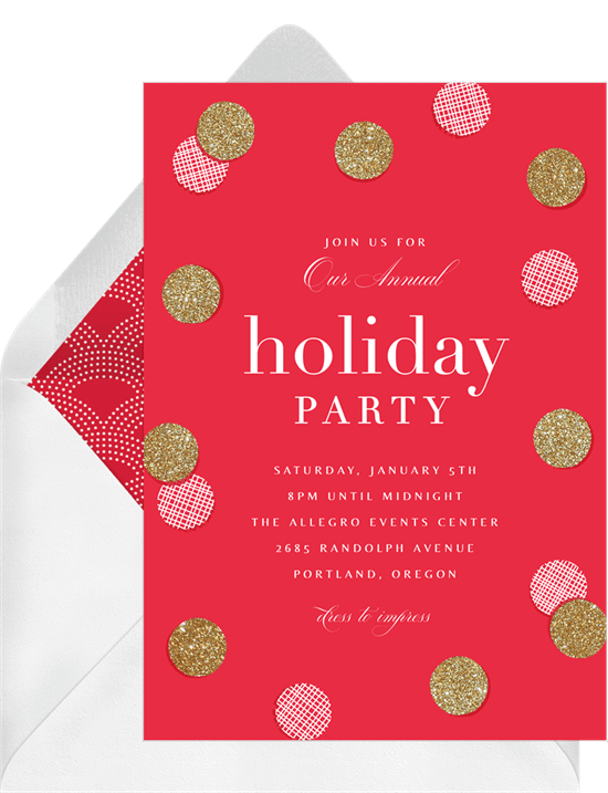 A holiday party invitation with a red background on gold glitter confetti illustrations