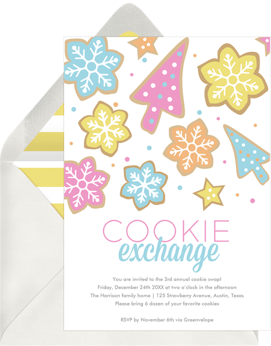A holiday party invitation with colorful cookie illustrations
