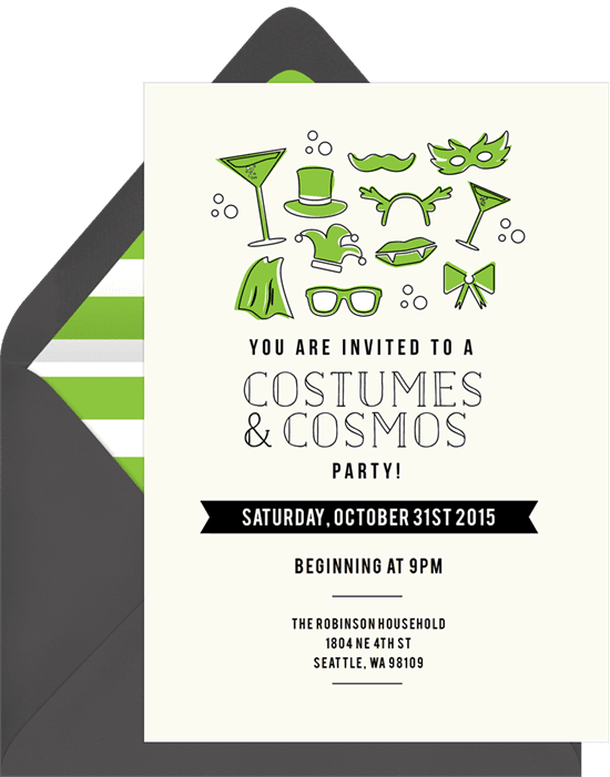 "Halloween party invitations that read ""Costumes & Cosmos"" with masquerade icons"
