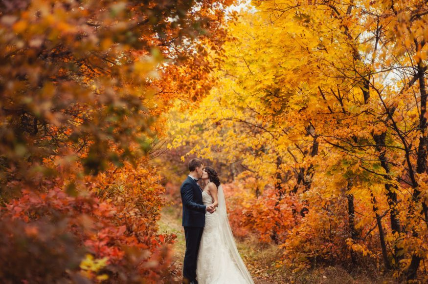 fall wedding invitations: couple kissing between trees