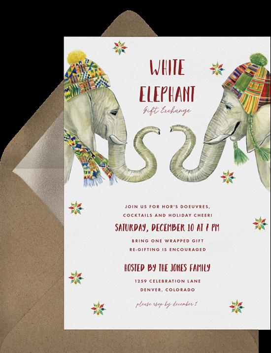 A White Elephant Christmas party invitation