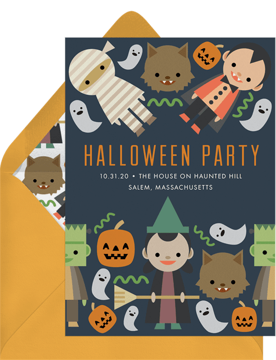 Halloween party invitations with cute monster illustrations