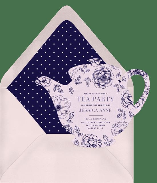 Bridal shower invitations: dainty teapot invitations