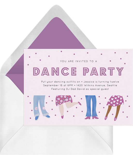 dance party invitation from Greenvelope