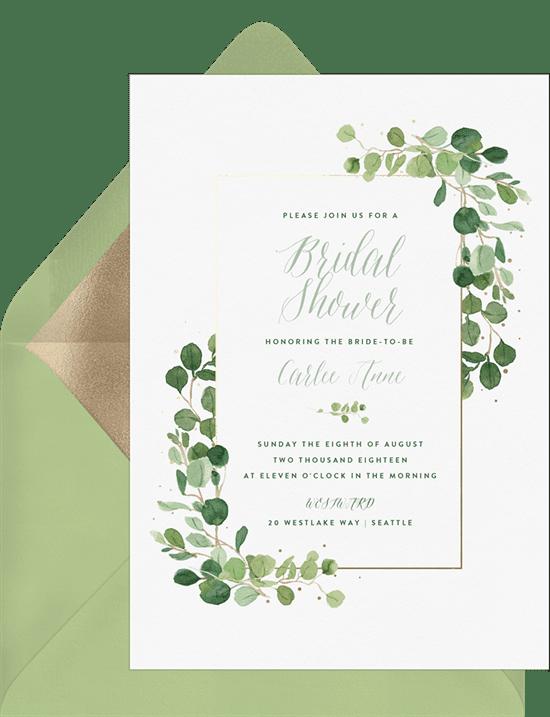 Bridal shower invitations: delicate greenery invitations