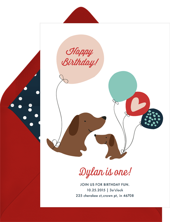 dog birthday party: dog with balloons invite by Greenvelope