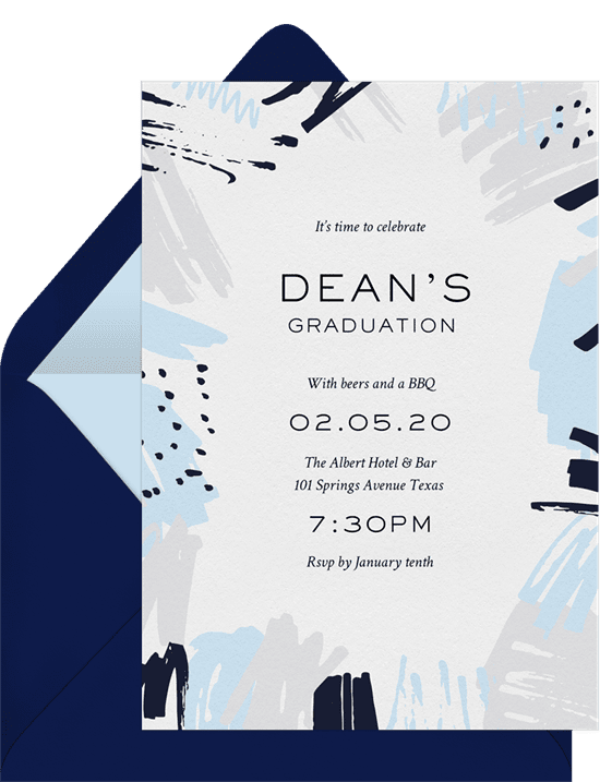 Edgy abstract invitations blue