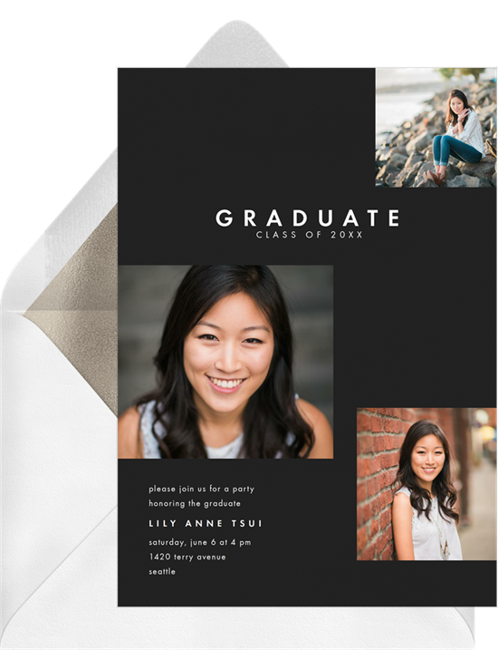A three photo layout on online graduation invitations with a black background