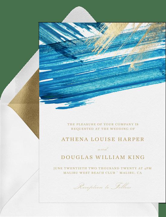 fall wedding invitations: Elegant Gold Leaf Invitation from Greenvelope