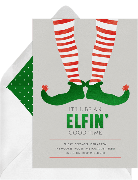 A Christmas party invitation with an illustration of elf legs