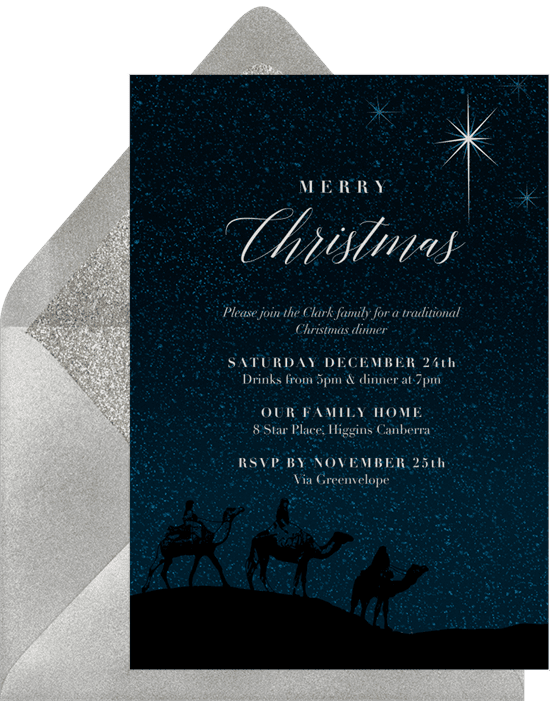 A holiday party invitation with an illustration of the three wise men