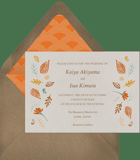 fall wedding invitations: Fall Foliage Invitation from Greenvelope