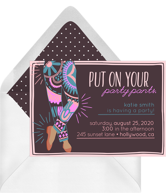 Birthday party ideas: an invitation for a birthday party at a fitness class