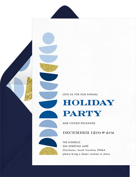 A holiday party invitation with a blue and gold geometric design