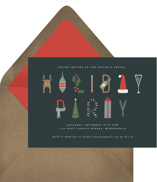 A Christmas party invitation with classic holiday symbols