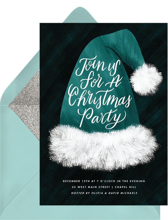 A holiday party invitation with a green Santa hat illustration