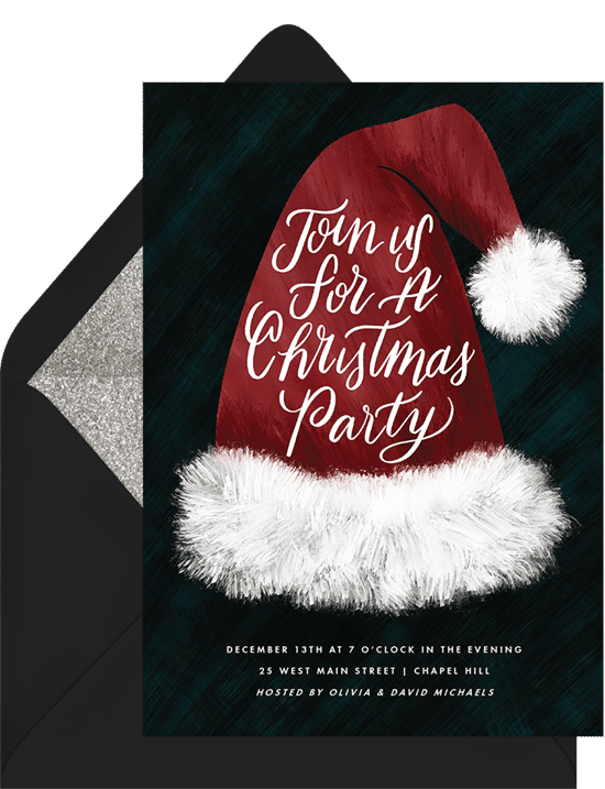 A Christmas party invitation featuring an illustrated Santa hat