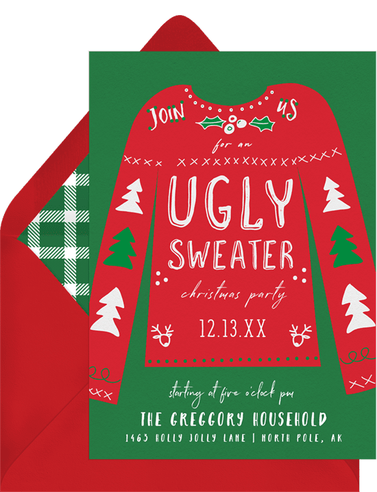 A holiday party invitation with an ugly sweater illustration