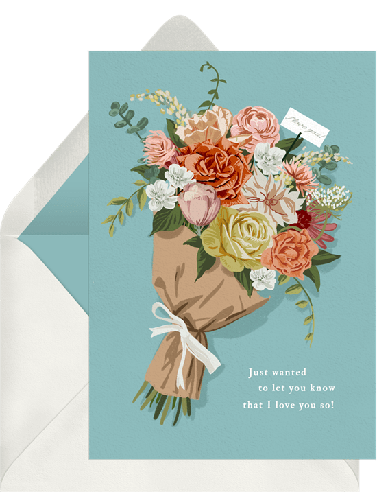 Floral Sentiments Card in blue from Greenvelope
