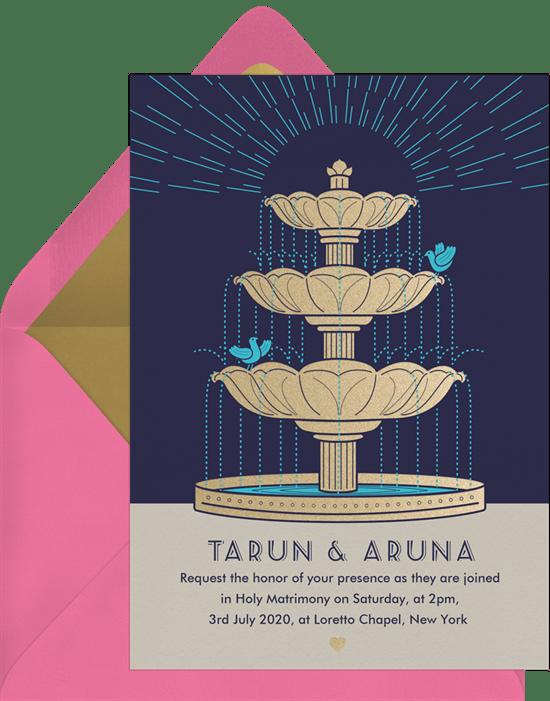 Fountain Lovebirds Invitation from Greenvelope