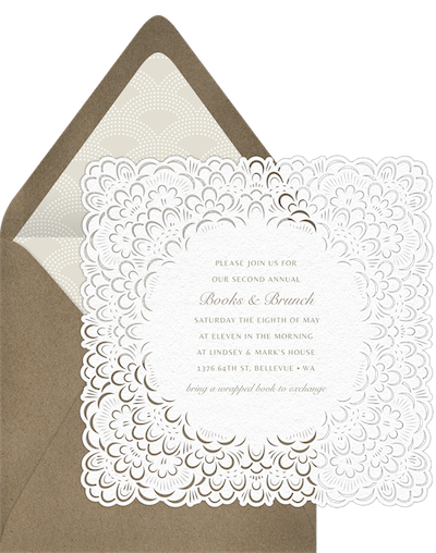 all white party: French Bloom Invitation by Greenvelope