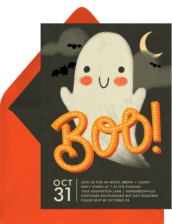 Halloween party invitations with a friendly ghost illustration