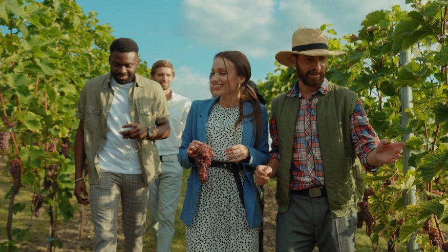Friends walking through a vineyard