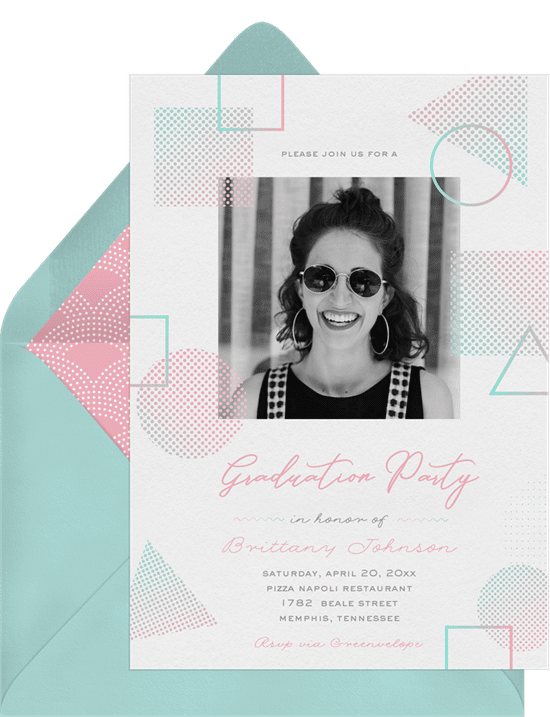Graduation Invitations: funky vibe invitations pink