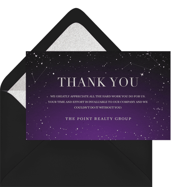 Night sky-themed business thank you cards