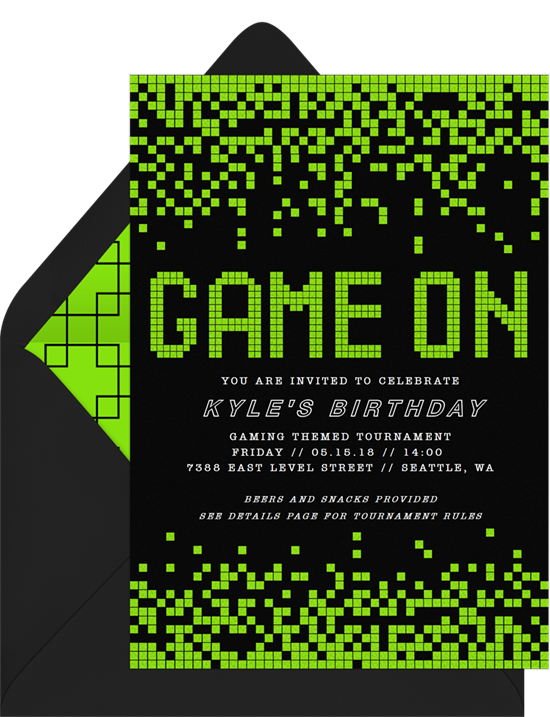 Birthday party ideas: an invitation for a video game birthday