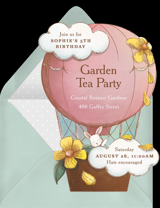 tea party ideas: Vintage Balloon Invitation from Greenvelope