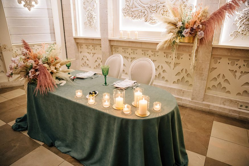 fall wedding decorations: gem-colored linen on table