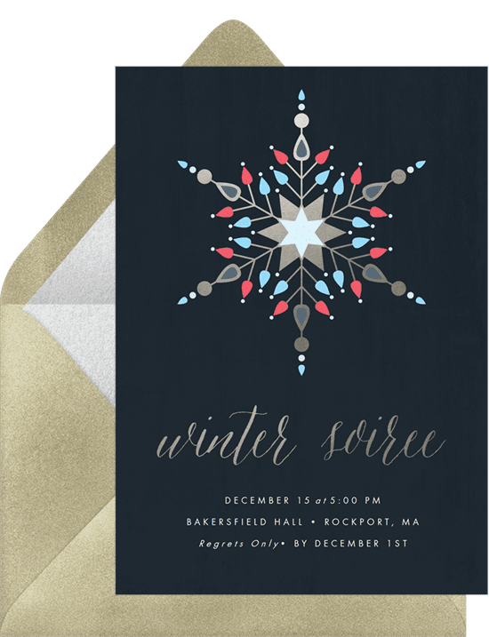 A holiday party invitation featuring a geometric snowflake design