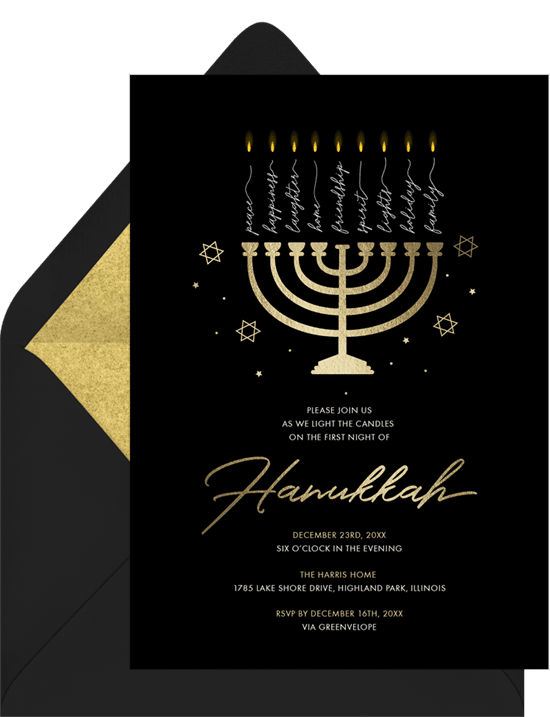 A holiday party invitation featuring a gold menorah