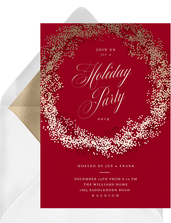 A Christmas party invitation with text surrounded by a gold wreath