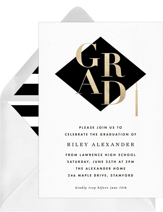 Graduation Invitations: gold stack invitations black