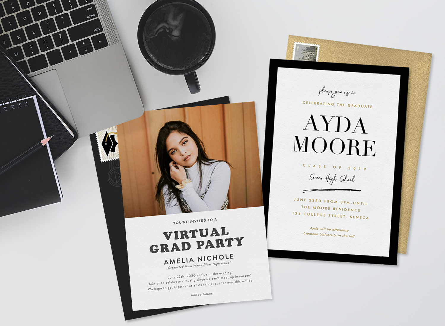 Graduation invitations: Pretty girl in an invitation