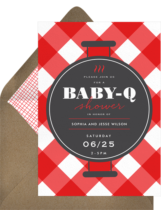 Online baby shower invitations with a grill design and gingham background