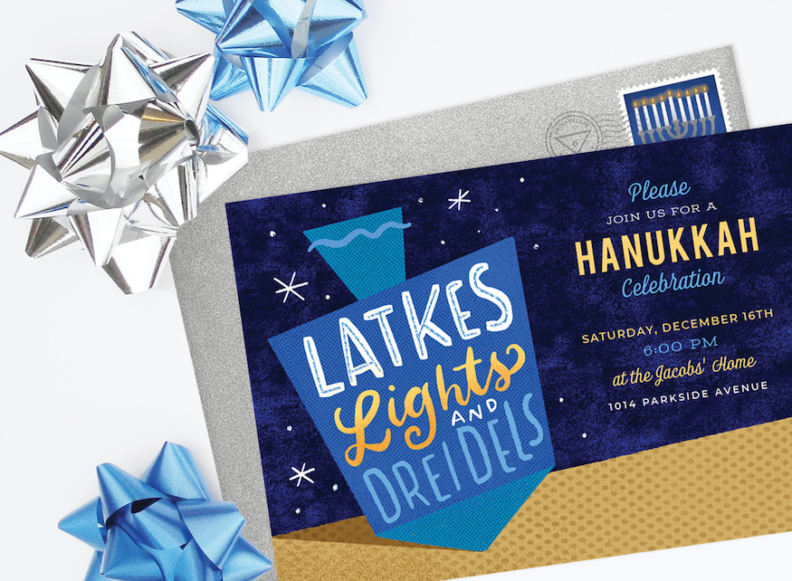 Hanukkah party ideas: A Hanukkah party invitation surrounded by blue and gold gift bows