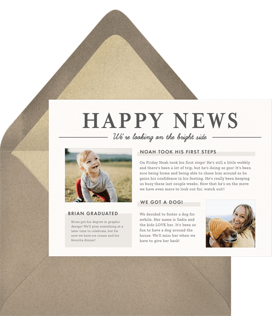 Just Because card featuring three customizable text boxes where you can share all of your family news and two photo-insert boxes.