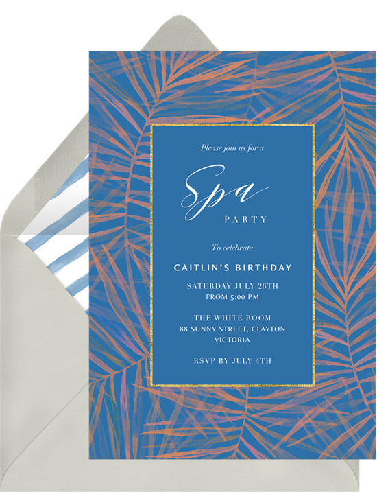 Birthday party ideas: an invitation for a spa birthday