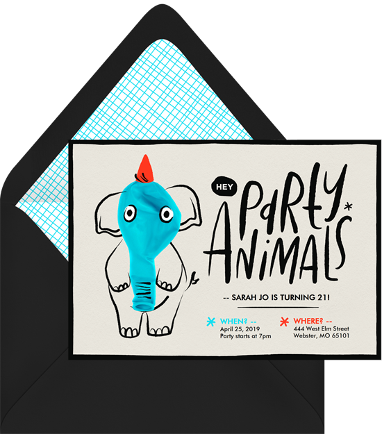 Birthday party ideas: an invitation for an animal-themed birthday