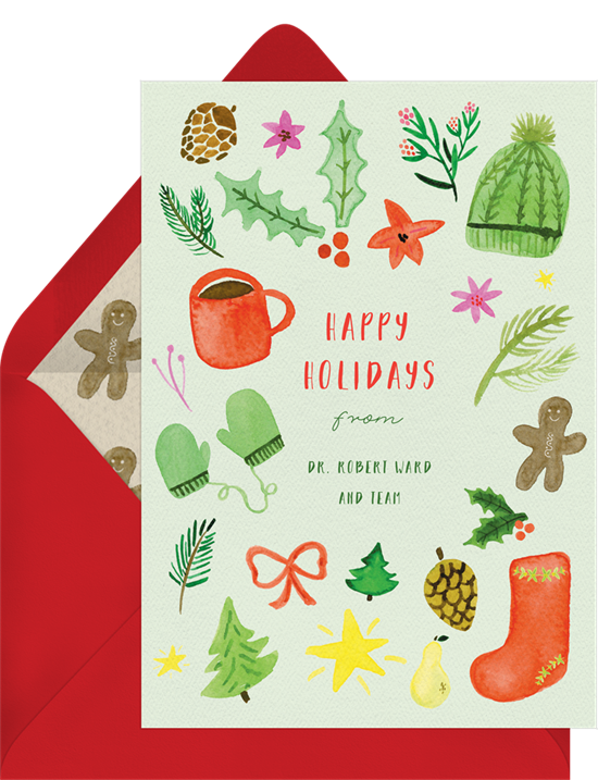 Digital holiday cards with watercolor illustrations of winter accessories